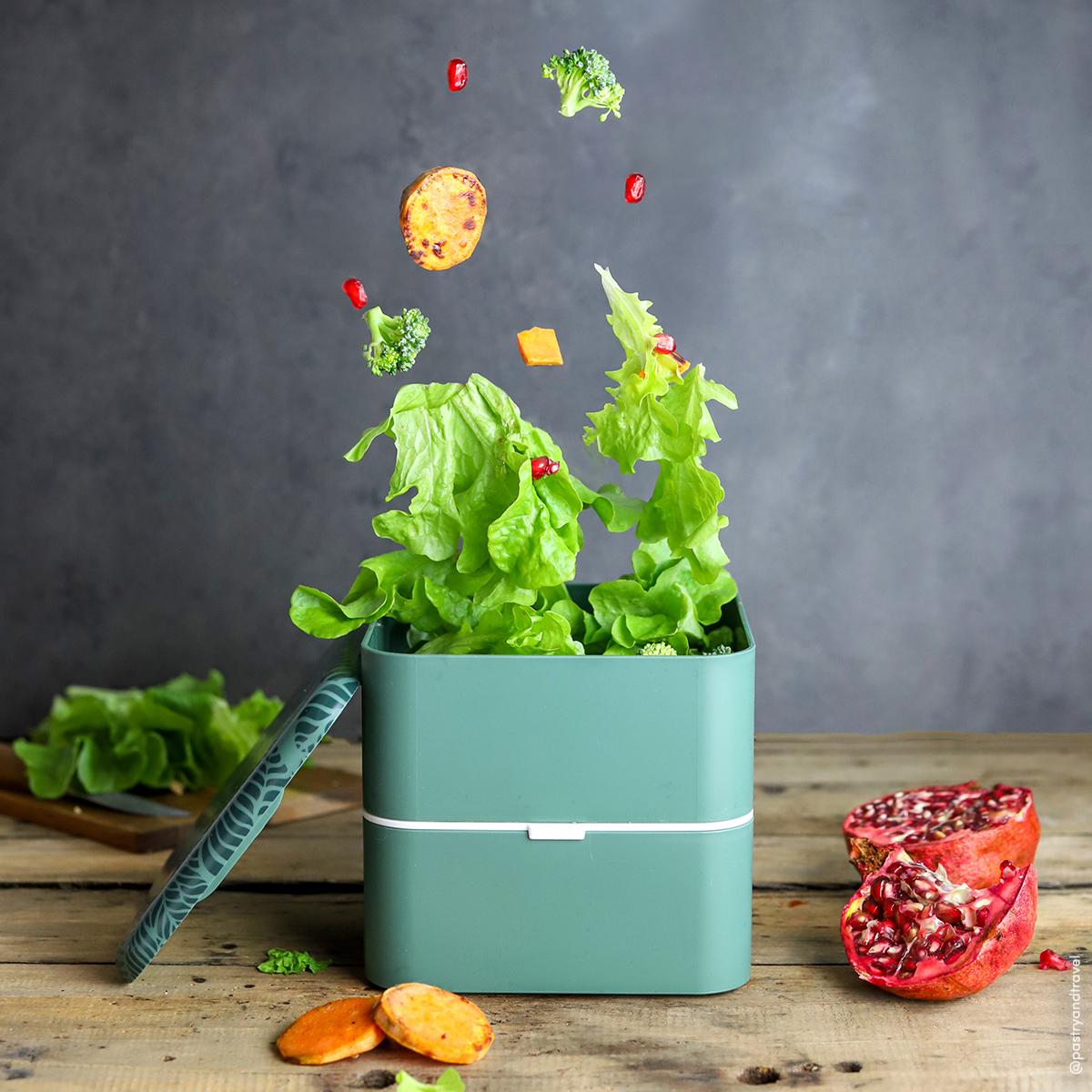 Sweet potato, broccoli and pomegranate salad