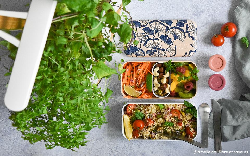 Thai carrot salad, quinoa tabbouleh and fresh fruit