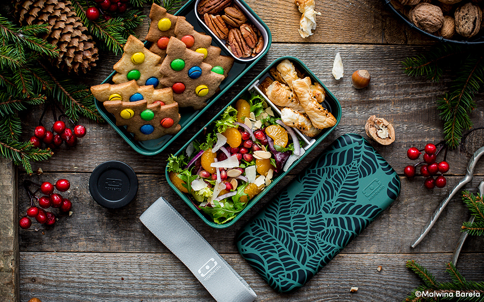 Winter salad, puff pastry rolls   and Christmas cookies