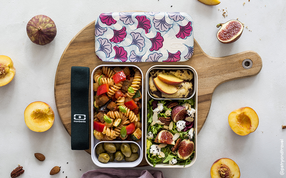Ratatouille pasta, fig/goat cheese salad and peach cake