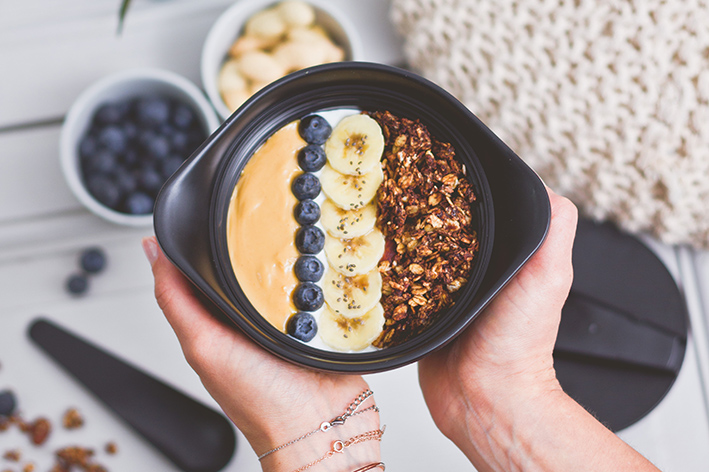 Breakfast bowl gourmet granola