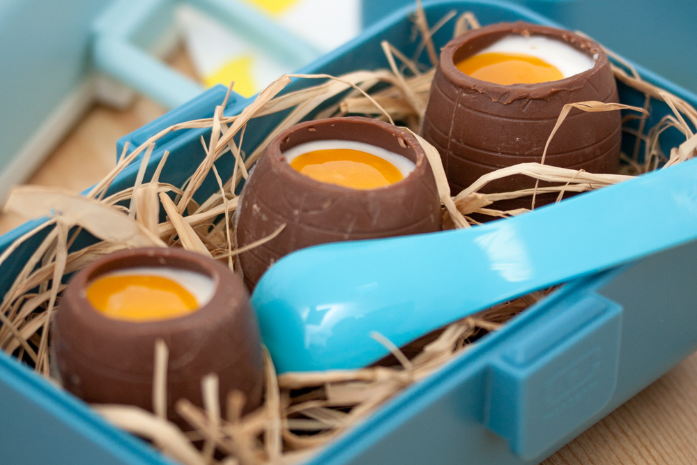 Chocolate Eggs with Cheese and Fruit Coulis