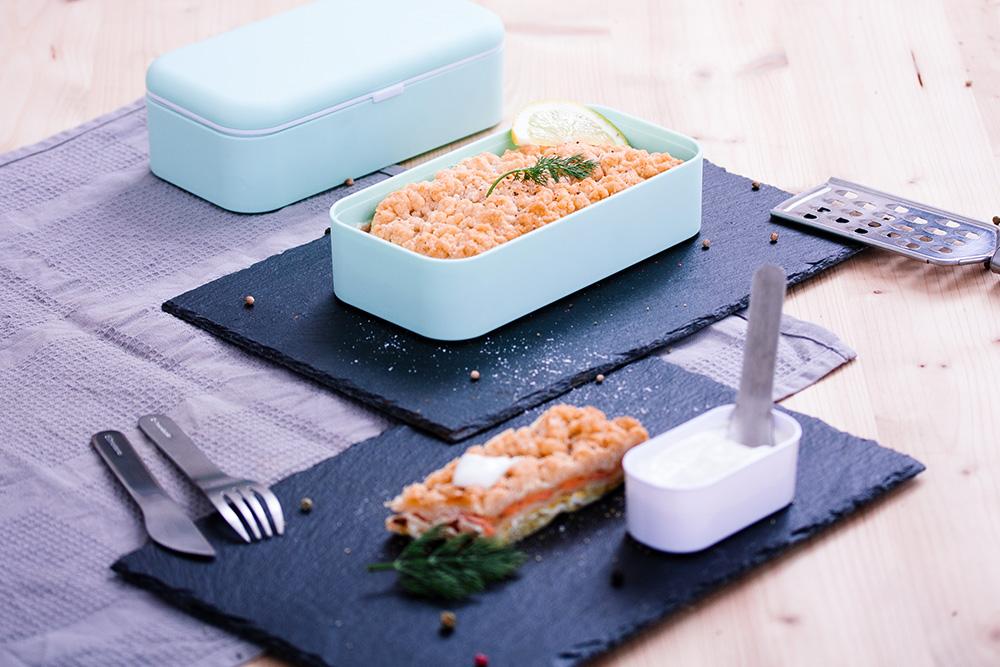 Crusty lasagna (Leeks/salmon/goat cheese)